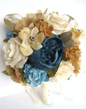 17 piece Wedding Bouquet package Bridal Silk Flowers CHAMPAGNE GOLD BLUE CREAM