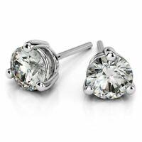 0,40 Cts Ronde Brillante Couper Diamants Clous Boucles d'oreilles En 750 18K Or