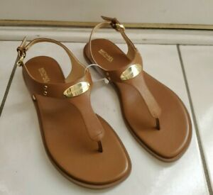 NEW Women's MK Michael Kors Leather Plate Thong Flat Sandals in Luggage size 8M
