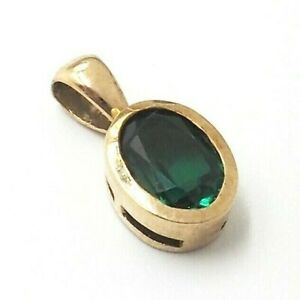 Exquisite Synthetic Emerald 9ct Yellow Gold Pendant Women's Fine Jewellery