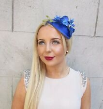Electric Cobalt Blue Orchid Flower Fascinator Teardrop Races Vtg Headband 2495