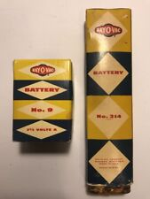 Lot Of 2 Vintage Antique RAY-O-VAC Batteries No.9 & No.214 Display Only