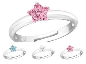 Childrens Girls 925 Sterling Silver Crystal Star Ring Adjustable Pink Clear Blue