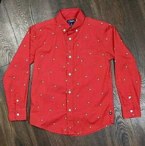 Chaps Boys Shirt Size M 10-12 Red w/Dogs Button Down Long Sleeve Dress Shirt