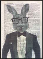Vintage Hare Rabbit Print Picture Dictionary Page Wall Art Quirky Animal Suit