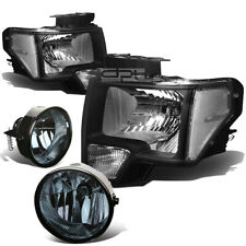 BLACK HEADLIGHT+CLEAR CORNER SIDE+SMOKED FOG LIGHT LAMP FOR 11-14 F150 PICKUP