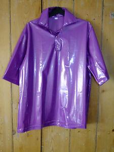PVC-U-Like PVC Top Shirt Shiny Purple Plastic Menswear Mans Polo Vinyl XL Gloss