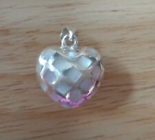 Sterling Silver 25x20mm 3D 8gr Cut Out & White Mother of Pearl Puffy Heart Charm