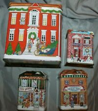 """VTG """"80's"""" Village Shops The Tin Box Company 4 boxes 1 large & 3 small reduced"""
