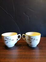 Vintage Porcelain Gold Rim Tea/coffee Cups Set Of Two gold and blue flowers