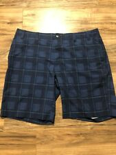 CALLAWAY Golf Sport Shorts Flat Front Blue Plaid Mens Size 40