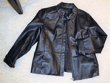 NWOT APOSTROPHE Black Genuine Leather Crocodile Print Womens Zipper Jacket Sz 14