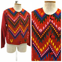 Vintage VTG 1970s 70s Red Boho Embroidered Multicolored Jacket