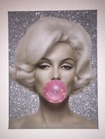 **GLITTER AND SWAROVSKI CRYSTAL CUSTOMISED A4 MARYLIN MONROE CANVAS**