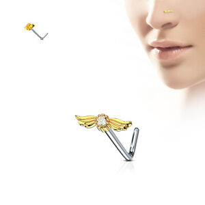 1PC 20g CZ 8MM Angel Wing Prong Set Surgical Steel L Bend Nose Ring #32