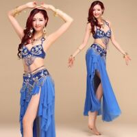 Professional Belly Dance Costume 2/3pcs full set Bra Top+Hip Belt+Long Skirt