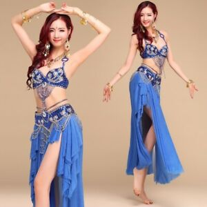 Professional Belly Dance Costume 2/3pcs full set Bra Top+Hip Belt+Long Skirt