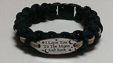 I Love You To The Moon & Back: Black & Gold Line Paracord Bracelet; NO Saints