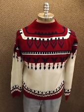 Warm Vtg 1970s Jcpenney Native Ethnic Winter Snow Ski Snowmobile Sweater Mens L