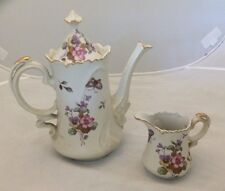 Vintage Lefton China 686 Ivory Floral Coffee Pot And Creamer