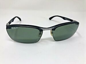 Rare Ray Ban RB8312 125/9A 60mm Sunglasses Polarized Italy Carbon Half Rim -289
