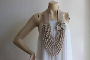 Ecru Rose Necklace- Rose Crochet Necklace - Jewelry Scarf-Handmade Loop Scarf