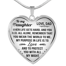 To My Daughter Necklace Heart Pendant Gift From Dad For Girls Love & Protect You