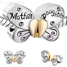 Mother Daughter Butterfly Charm Purple Crystal Spacer Bead Bracelet Ideal Gift