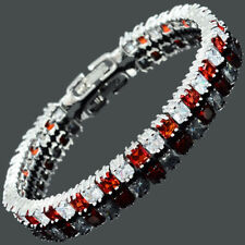 Sarotta Red Ruby Cubic Zirconia Square 18K White Gold Plated Tennis Bracelet