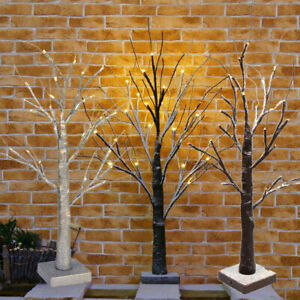 60CM White Easter Birch Tree LED Light Up Twig Tree for Hanging Eggs Decorations