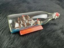 Vintage Handmade Ship in a Bottle w/Lighthouse & 2nd Ship, Nautical Sail Boat