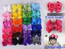 "Colorful 24 colors 5"" big bow Baby Girl Grosgrain Hairbow Aligator clips 430B Y"