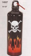 Spoontiques Skull Stainless Steel Gray Water Bottle, Carabiner Clip NIB [14937]