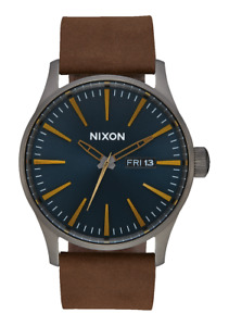 Nixon Sentry Leather,42MM Mens Round Analogue Classic Watch - Gunmetal