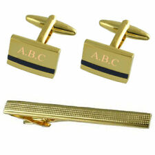 Blue Lapis Gold Cufflinks Engraved Gift Set With Tie Clip 65Mm