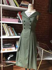 Zara Khaki A-line Buttoned Dress XS