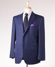 NWT $8495 KITON NAPOLI Blue Stripe Super 180s Wool-Silk Suit 46 R Modern-Fit