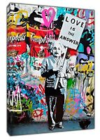 BANKSY LOVE IS THE ANSWER EINSTEIN PRINT ON FRAMED CANVAS WALL ART DECORATION