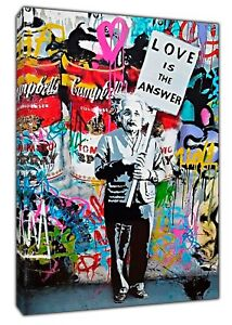 Banksy Love is the Answer Einstein Paint Picture Print On Framed Canvas Wall Art