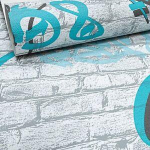 Erismann Rustic Brick Graffiti Black Grey Teal Blue Textured Feature Wallpaper