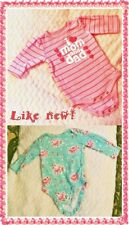 TWO (2) BABY GIRL BODYSUIT NEWBORN INFANT AND 3 MONTH LONG SLEEVE FALL/WINTER