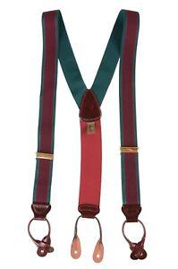 Trafalgar Burgundy Maroon & Hunter Green Elastic Stretch Braces Suspenders