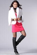 White Genuine Knitted Mink Fur Fox Collar Shawl Stole Cape Winter Fur Coat