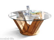 BOSTON Couchtisch Wohnzimmertisch Tisch mit Glasplatte Wildeiche Massivholztisch