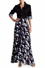 $253 NWT TOV Faux Leather Collar Women's Black Maxi Dress Size 38 S