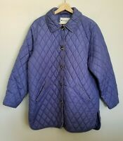 Appleseed's Jacket Diamond Quilted Button Front Lavender Pockets Lined Size Sz L