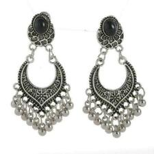 "NEW - SILVER - BOHEMIAN DESIGN ""ONYX"" DROP-DANGLE - FASHION EARRINGS"