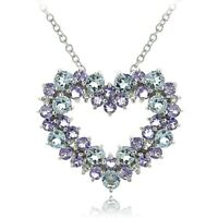 Sterling Silver Aquamarine Tanzanite & 1/10ct TDW Diamond Cluster Heart Necklace