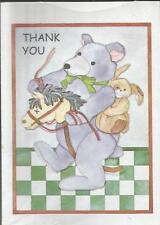 THANK YOU (BEAR ON HORSE W/RABBIT)  8 cards w/envelopes by Popular Greetings