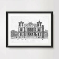 BUILDING PICTURE ARCHITECTURAL DIAGRAM DRAWING ART PRINT Poster Room Wall